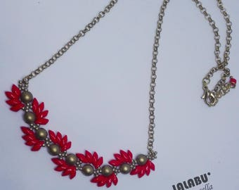 Scarlett necklace, choker, red and gold necklace