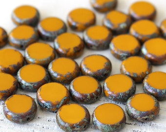 11mm Coin Beads - Jewelry Making Supplies - Opaque Mustard With Picasso Edges - Czech Glass Beads - Choose Amount