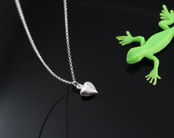 Tiny Sterling Silver Heart Necklace- Puffy Heart Necklace