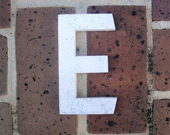 Vintage Metal Sign Metal Letter E Sign Chippy Painted Letter E Sign Old Rusty Letter E 6 Inches Tall