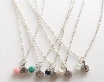 Dainty Initial Sterling Silver Necklace- Choose your initial and stone