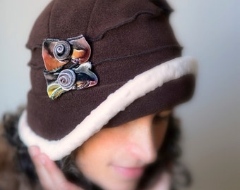 Ladies Flapper Cloche - Polar Fleece and Silk Velvet - Chocolate Brown and Cream - Emma Rose