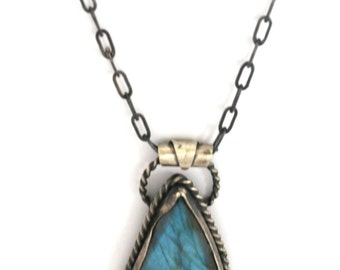 Labradorite and Sterling Silver Pendant Necklace