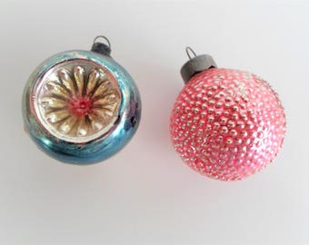 Vintage Feather Tree Christmas Ornaments-- Pink Bumpy Ornament and Blue and Silver Indent