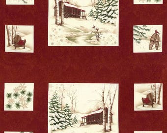 Holiday in the Pines Red Panel  6510-17 Appox. Size 24 x44 Per Panel