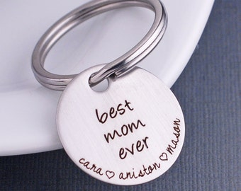 Personalized Gift for Mom, Best Mom Ever Keychain Gift with Kids Names, Gift for Her, Christmas Gift from Kids