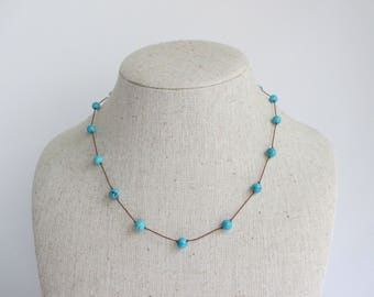 Turquoise Beaded Necklace on Cord with Sterling Silver Clasp