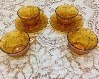 Tiara / Indiana Amber Sandwich Glass Cups & Saucers