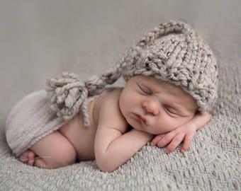 Tassel Baby Hat Knit Newborn Grey Marble- Daffodil Hat