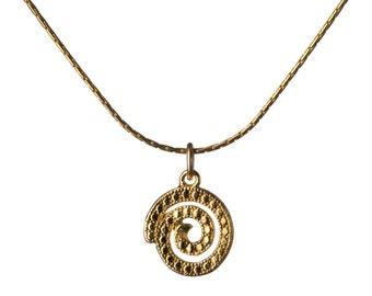 Circle Spiral  14K Gold Filled Pendant Necklace Tribal Necklace Gold Choker Jewellery Handmade Free UK delivery GP37
