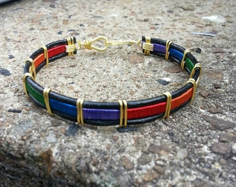 Rainbow Leather Pride Bracelet