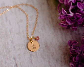 Breast Cancer Awareness Necklace with Pink Tourmaline or choose your stone - Gold Ribbon Disc Pendant