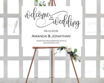 Welcome To Our Wedding Sign PDF - Welcome Wedding Template - Welcome Wedding Sign - Modern Wedding Ideas - Downloadable Wedding #WDH301_26