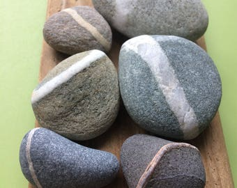 Wishing stones , Scottish beach stones , stripe stones , striped stones , ringed stones , stone collection , beach stones