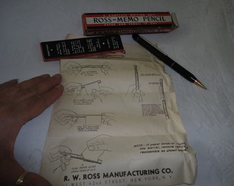 Ross Memo Paper Pencil All In One Original Box Paper Refills Vintage Office Decor