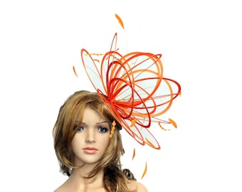 Orange large Feather Fascinator Hat - Perfect for a Mother of The Bride, ladies day - choose any colour feathers and satin