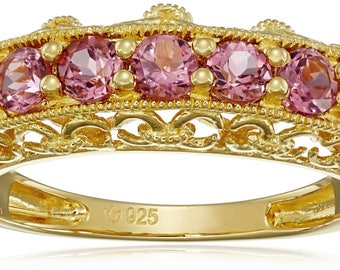 Yellow Gold-Plated Silver Pink Tourmaline Band Stackable Ring, Sz 7