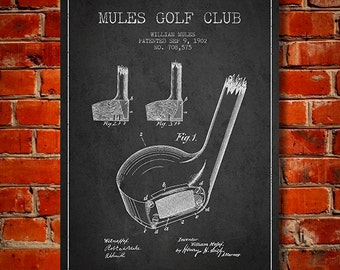 1902 Golf Club Patent, Canvas Print,  Wall Art, Home Decor, Gift Idea