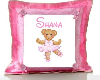 Cushion Pink Teddy bear dancer personalized with name