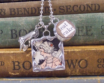 Marie Antoinette Necklace - Eat Cake Charm Necklace - Mixed Media Charm Necklace - Soldered Charms - French Book Necklace - Altered Art