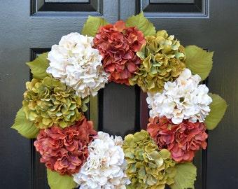 Hydrangea Fall Wreaths, Autumn Hydrangea Wreath, Fall Hydrangeas, Fall Wreath Decor, Fall Weddings, Fall Decoration