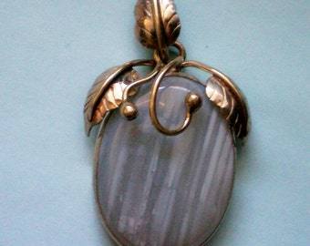 Blue Agate Wire Wrapped Stone with Brass Pendant - 2571
