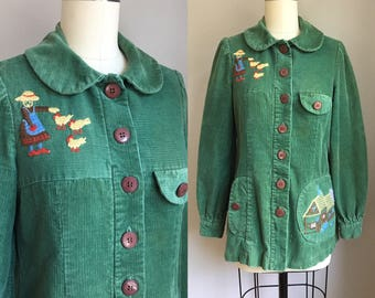 Vintage 1970s does 1940s Corduroy Embroidered Barn Barnyard Jacket Size XS
