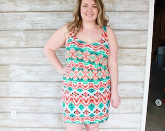 SALE Summer Dresses, Summer Sundress, Tank Dress, Plus Size Dresses, Womens Dresses, Summer Dress, Tribal Print, Beach Dress, Boho Chic