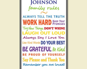 Personalized Family Rules/Subway Art/Family Name - Multi Colored - 12 x 16