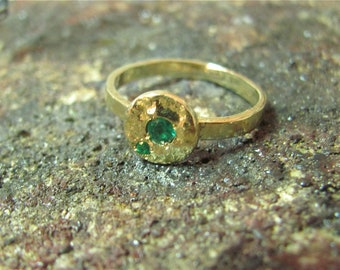 14K Yellow gold ring with 2 Green Emeralds.Handmade Unique design ring. Free shipping.