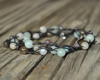 Guardian Angel Necklace, Lepidolite, Labradorite, Moonstone, Amazonite, Knotted Necklace, Crystal Healing, Meditation, Yoga, Hypoallergenic
