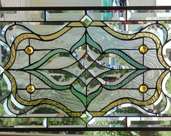 """Stained Glass Window Hanging 29 X 14"""" polished Brass Frame"""