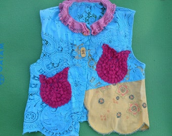 Handmade Lace, Embroidered and Fancifully Stitched Two-Button Vest