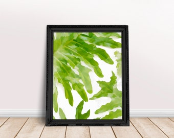 Botanical art print, plant print, palm leaf print, tropical print, botanical art, tropical leaf print tropical wall art green plant wall art