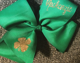Dance Bow, st Patricks Day Bow, St Patricks Day dance Bow, Green Bow, Lucky Bow, St Paddys Day Bow, green and gold bow, personalized bow