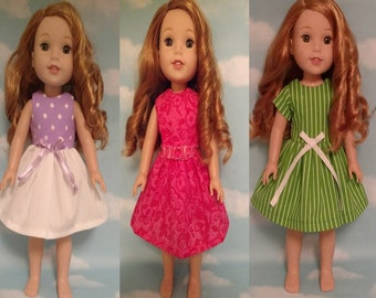 """Dress Fits AG Wellie Wishers, Girl Doll clothes, American Made handmade 14.5"""" doll Clothing (Dress choose an option) d-213wabc"""