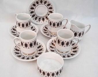 Paragon  bone china 'Symmetra'  tea set, coffee set black and gold  art deco style English china 1930s.