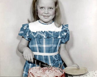 HAppy Birthday Card Girl cuts the Cake tinted vintage photo card