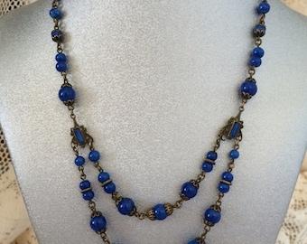 Czech Lapis Double Strand Art Deco Necklace