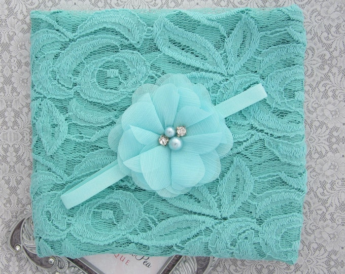 Aqua embroidered vintage lace swaddle wrap and/or sparkle chiffon flower headband for newborn photo shoots, bebe, foto by Lil Miss Sweet Pea