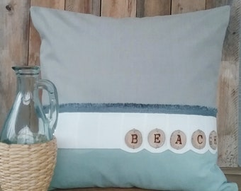 Beach pillow,Coastal decor,Decorative pillow,Wood burned letters,beach decor,cottage