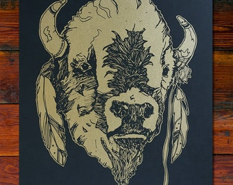 Buffalo Screen Printed Art Print