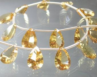AAA Honey Quartz Concave Cut Pear Briolettes