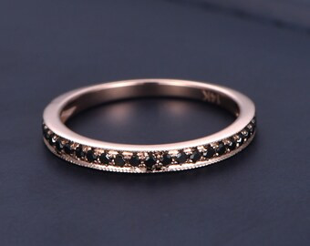 Solid 14k rose gold ring black diamond wedding band half eternity ring engagement ring stacking matching band anniversary ring thin Pave set