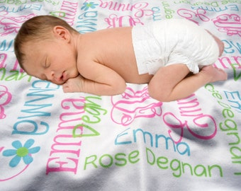 Personalized Receiving Blanket - Baby Shower Gift - Monogrammed Blanket for Girls - Baby Bedding - Custom Name Blanket - Swaddling Blanket