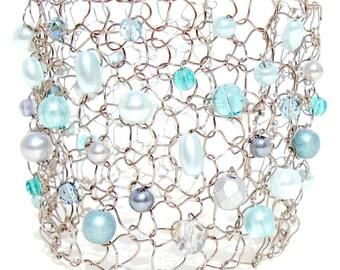 Arm Cuffs Pearl Cuff Bracelet Mint Gray Bracelet Beaded Bracelets Delicate Bracelet Statement Bracelet Mint Green Modern Chic Jewelry