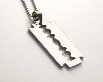 SALE  Stainless Steel Razor Necklace UniSex Man's Woman's Pendant