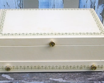Vintage White Jewelry Box with Mirror and Red Felt Lining