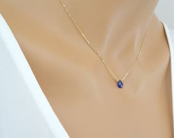 Blue Sapphire Necklace, September Birthstone, Gift for her
