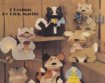 Cute Lil' Kisses, Leisure Arts Plastic Canvas Pattern Booklet 1238 Animal Kissies Squeezums Squeezies